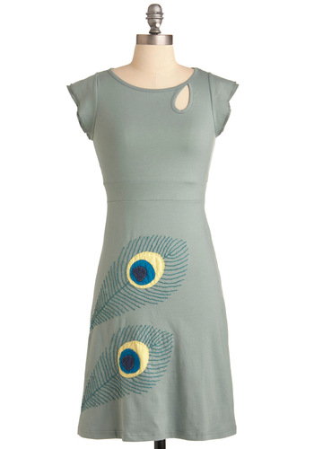 Bird's Eye View Dress - Mid-length, Green, Yellow, Blue, Cutout, Shift, Cap Sleeves, Embroidery, Casual, Eco-Friendly, Cotton, Travel