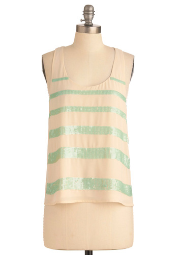 Isn't Sushi Lovely? Top - Green, Stripes, Sequins, Party, Tan / Cream, Tank top (2 thick straps), Mid-length