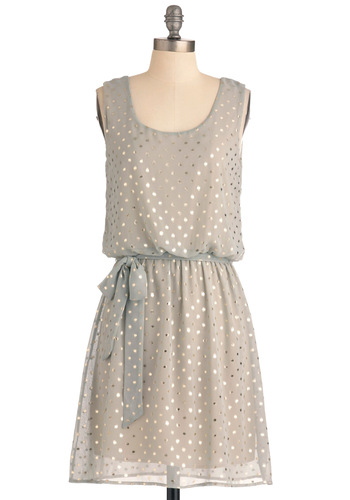 Shine and Dandy Dress - Mid-length, Polka Dots, Shift, Green, Silver, Party, Sleeveless