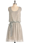 Shine and Dandy Dress - Mid-length, Polka Dots, Sheath / Shift, Green, Silver, Party, Sleeveless