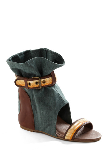Eureka Wedge in Teal by 80%20 - Green, Yellow, Brown, White, Buckles, Cutout, Trim, Casual, Wedge
