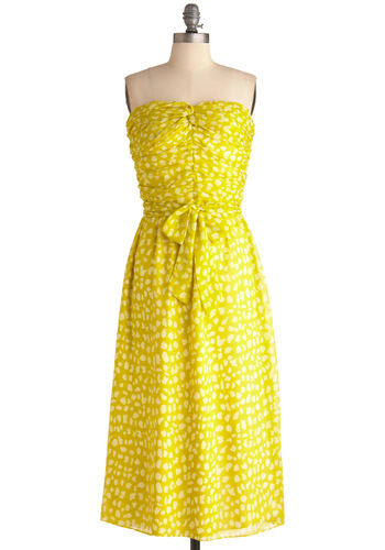 Life Gives You Lemongrass Dress - Long, Yellow, Print, Strapless, Party, White, Wedding, Shift