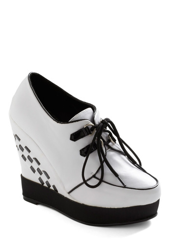 Strut Your Engines Wedge by Bettie Page - White, Black, Trim, Casual, Wedge