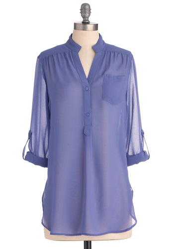 Sheer for You Top in Lilac - Long, Casual, Purple, Solid, Buttons, Long Sleeve, Pockets, 3/4 Sleeve, Beach/Resort