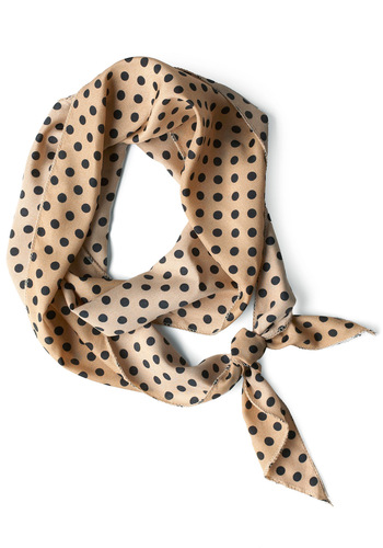 Bow to Stern Scarf in Sand Dots - Casual, Black, Polka Dots, Tan, Work