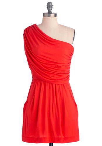 I'm Your Venus Dress in Coral - Short, Casual, Orange, Solid, Pockets, Shift, One Shoulder, Summer
