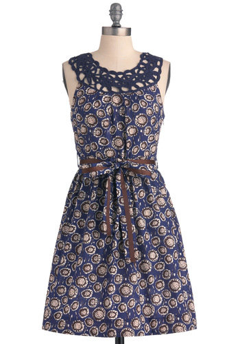 Posy a Question Dress - Mid-length, Purple, Brown, Cutout, Sheath / Shift, Sleeveless, Casual, Vintage Inspired, Tan / Cream, Floral