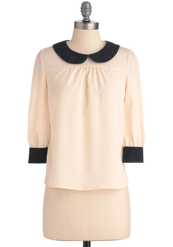 Seen in Style Top in Ivory - Mid-length, Cream, Black, Solid, Buttons, Peter Pan Collar, Work, Vintage Inspired, 60s, 3/4 Sleeve, Sheer, Collared