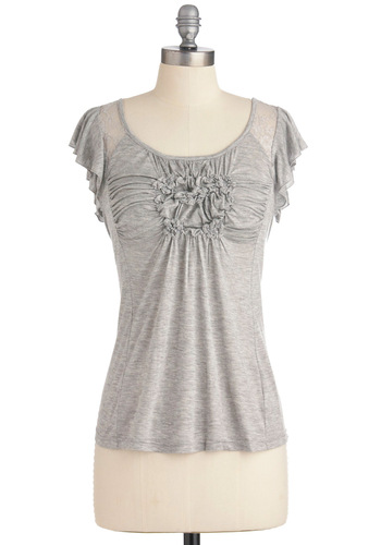Going Laces Top - Grey, Solid, Casual, Short Sleeves, Mid-length
