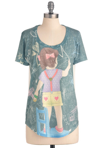Kindergarten Party Top - Multi, Vintage Inspired, 80s, Short Sleeves, Casual, Multi, Mid-length