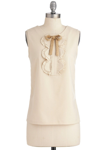 So Good to be Here Top in Buttercream - Work, Vintage Inspired, Cream, Solid, Bows, Ruffles, Sleeveless, Mid-length