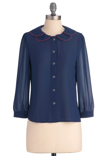 Hit the Book-Fair Top - Short, Work, Vintage Inspired, Blue, Solid, Buttons, Peter Pan Collar, Long Sleeve, Pink, Scallops, 60s