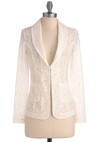 Business is Blooming Jacket - White, Lace, Work, Long Sleeve, Floral, Pockets, 1, Mid-length
