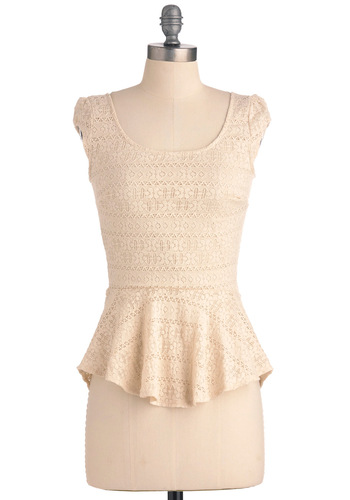 Fro-Yo Consideration Top - Mid-length, Cream, Solid, Lace, Pinup, Cap Sleeves, Peplum, Scoop