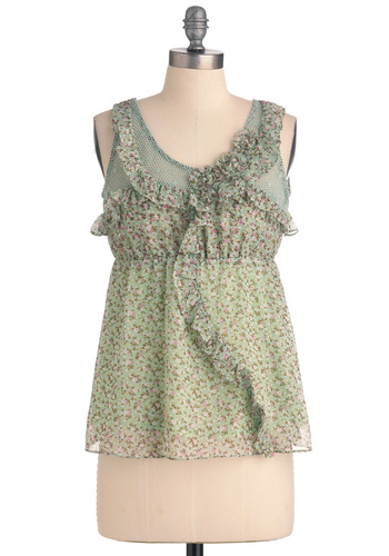Under the Pergola Top - Green, Floral, Casual, Boho, Sleeveless, Multi, Yellow, Pink, White, Ruffles, Spring, Mid-length
