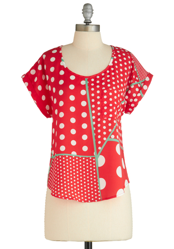 Sample 1678 - Red, White, Polka Dots, Cutout, Pockets, Casual, Vintage Inspired, Short Sleeves