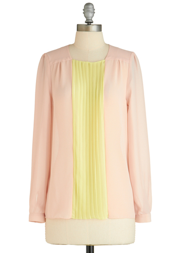 Sample 1684 - Pink, Yellow, Pleats, Casual, Vintage Inspired, Long Sleeve, Long