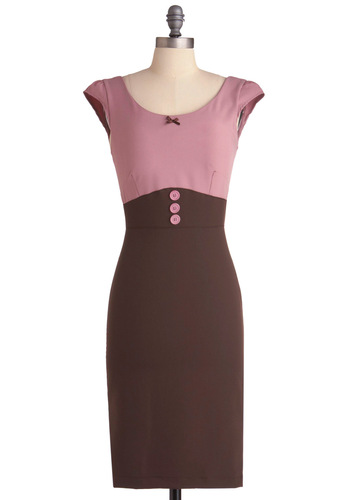 Raspberry Mocha Dress - Work, Pinup, Vintage Inspired, Pink, Bows, Buttons, Sheath / Shift, Cap Sleeves, Brown, Long, Exclusives, Bodycon / Bandage