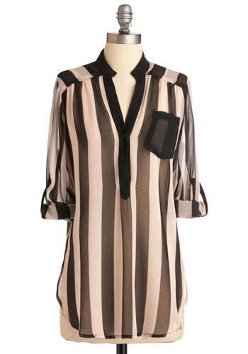 Marne's Eclectic Heart Top - Long, Pink, Stripes, Pockets, Casual, Menswear Inspired, Long Sleeve, Black, Steampunk, Sheer, Button Down, Black, Tab Sleeve