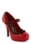 Patent Trending Heel by Pinup Couture - Red, Black, Bows, Trim, Party, Pinup, Vintage Inspired, Faux Leather, Mary Jane, High