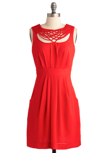 Elaborate for Me Dress - Mid-length, Red, Solid, Pleats, Pockets, Formal, Vintage Inspired, Sheath / Shift, Sleeveless
