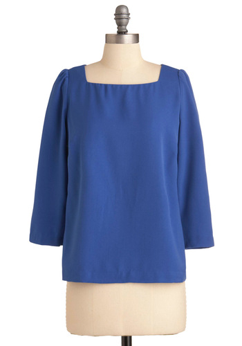 It's Simple Top - Mid-length, Blue, Solid, Exposed zipper, Casual, Long Sleeve
