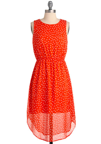 Cherry Fizz and Hers Dress - Long, Orange, White, Polka Dots, Shift, Casual, Vintage Inspired, Sleeveless, Sheer, Coral, High-Low Hem