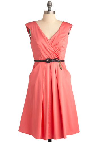 Occasion by Me Dress in Pink - Pink, Solid, Braided, Pleats, Pockets, A-line, Wedding, Party, Cap Sleeves, Long