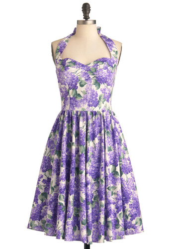 Hide in the Hydrangeas Dress - Long, Purple, Green, Tan / Cream, Floral, A-line, Halter, Wedding, Party, Vintage Inspired, 50s, Spring