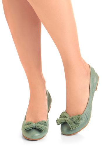 Eat, Drink, and Be Rosemary Flat by BC Footwear - Green, Solid, Bows, Crochet, Casual, Spring
