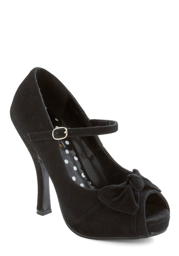 Be My Lady Heel by Pinup Couture - Black, Solid, Bows, Buckles, Cutout, Formal, Party, High, Cocktail, Holiday Party, Mary Jane, Peep Toe
