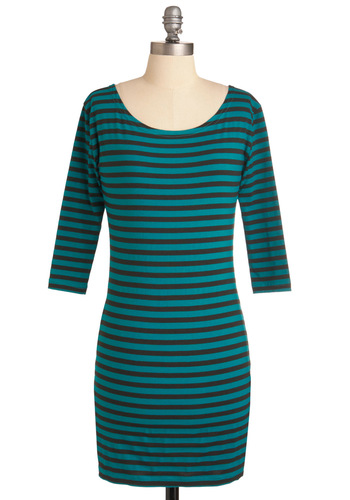Give It a Tribeca Dress - Short, Casual, Urban, Green, Black, Stripes, Shift, 3/4 Sleeve, Girls Night Out, Bodycon / Bandage