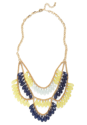 Rivaling Style Necklace - Gold, Beads, Yellow, Blue, Formal, Prom, Party