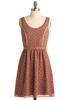 White Chocolate Chip Cheescake Dress - Mid-length, Party, Vintage Inspired, 40s, 50s, Copper, Tan / Cream, Polka Dots, A-line, Tank top (2 thick straps)