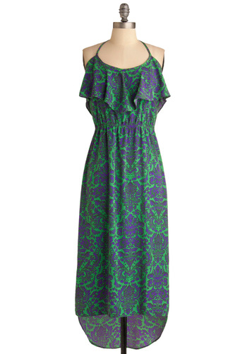 Colorful Contrast Dress - Long, Purple, Print, Ruffles, Maxi, Halter, Casual, Vintage Inspired, Green, 70s, Summer