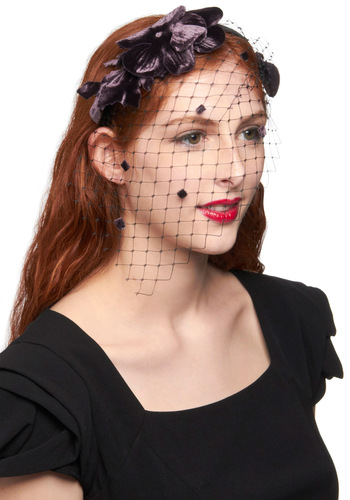 Cocktail Reception Headband by Ophelie Hats - Purple, Lace, Formal, Wedding, Party, Vintage Inspired, 20s, Luxe, Statement