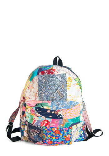 Patchwork It, Girl Backpack - Casual, Fruits, Multi, Floral, Pockets, Print