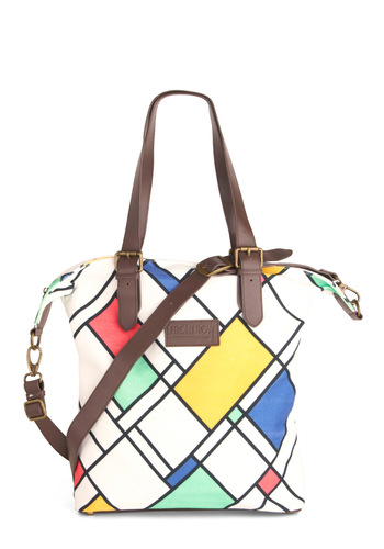 Regular Visitor Shoulder Bag - White, Multi, Red, Yellow, Green, Blue, Brown, Black, Buckles, Print, Casual
