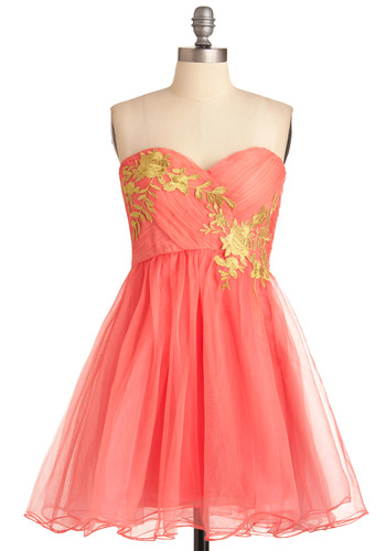 Garden Cotillion Dress - Short, Pink, Gold, Flower, A-line, Strapless, Formal, Prom, Party, Vintage Inspired, Solid, Ballerina / Tutu, Fairytale, Coral, Variation