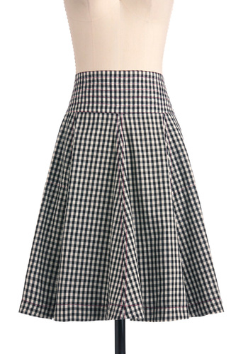 Cabin the Know Skirt by Effie's Heart - White, Checkered / Gingham, Casual, Vintage Inspired, Black, Pockets, A-line, Summer, Mid-length, Cotton, Fit & Flare