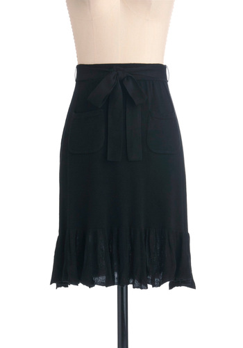 Story-Time Style Skirt by Effie's Heart - Casual, Black, Solid, Pockets, Mid-length