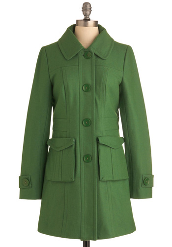 Senior Copy Writer Coat in Grass by Tulle Clothing - Green, Solid, Buttons, Pockets, Casual, Vintage Inspired, Long Sleeve, 3, Long, Fall