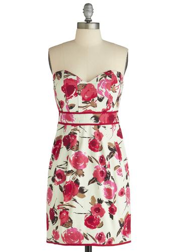 Fleur Sure Dress - Party, Pink, Floral, Trim, Strapless, White, Mid-length