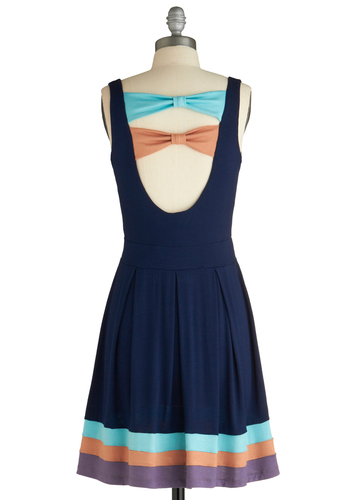 Neapolitan of Your Dreams Dress - Short, Casual, Blue, Purple, Tan / Cream, Solid, Bows, A-line, Tank top (2 thick straps), Summer