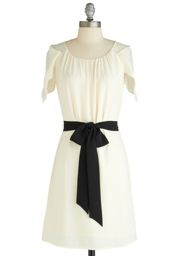 A-flutter with Glee Dress - Mid-length, White, Black, Solid, Shift, Short Sleeves, Party, Belted
