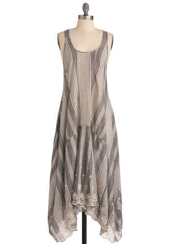 Around the Bonfire Dress - Long, Casual, Grey, Tan / Cream, Embroidery, Scallops, Boho, Tent / Trapeze, Tank top (2 thick straps)
