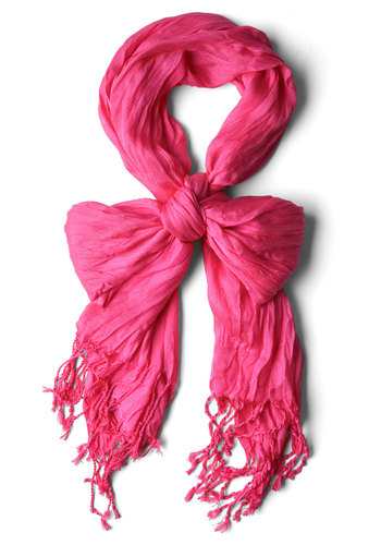 Crinkle in Time Scarf in Magenta - Casual, Pink, Solid, Fringed, Minimal, Sheer