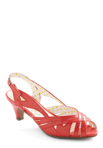 Bright on the Town Heel - Red, Solid, Cutout, Casual