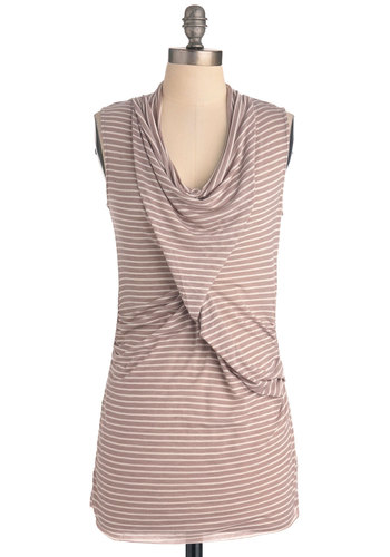 Signature Drink Top - Brown, White, Stripes, Casual, Sleeveless, Long