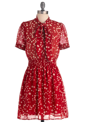 Ink the Best of You Dress - Mid-length, Casual, Vintage Inspired, Red, White, Polka Dots, Sheath / Shift, Short Sleeves